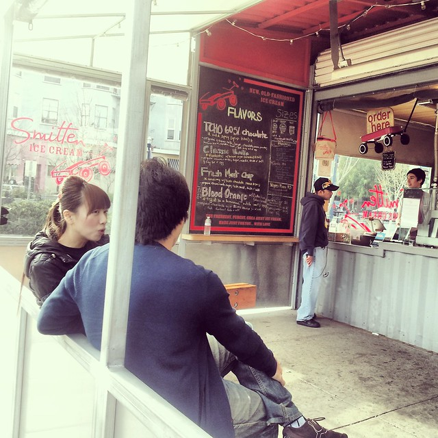 A couple in San Francisco ice cream shop Smitten