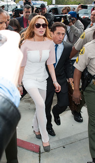 Lindsay Lohan White Trousers Celebrity Style Women's Fashion