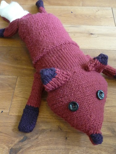 Hand Knitted Fox Draft Excluder