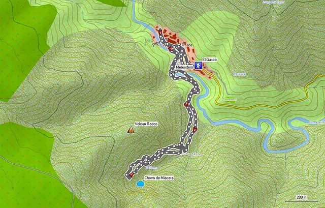 Mapa Chorro de Miacera desde el Gasco