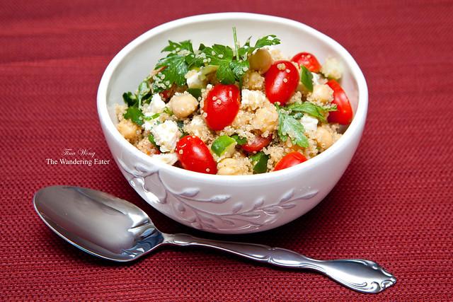 Quinoa salad with chickpeas, Buttermilk Blue cheese, cucumber, grape ...