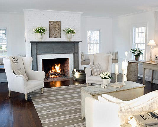 Source Unknown White Country Rustic Modern Living Room