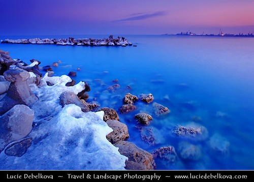 Romania - Constanța - Dusk at the Frozen Black Sea Coast