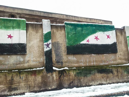 Syria Independence Flag Painted on Gov. School Wall