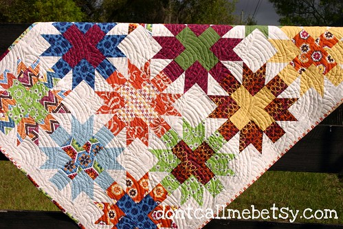 Star Crossed Stitch quilt - unwashed detail #1