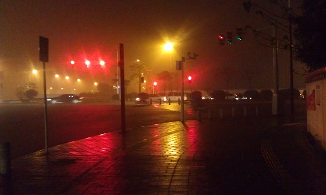 foggy, humid night