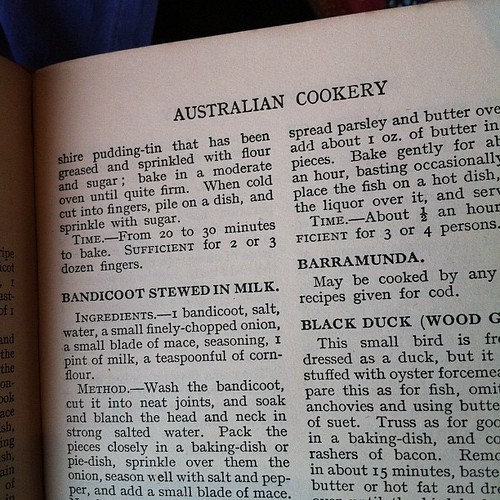 First, take your bandicoot... (Grandma's Mrs Beeton, Australian edition of 1937.)