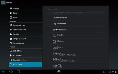 Acer Iconia Tab A200 ICS update