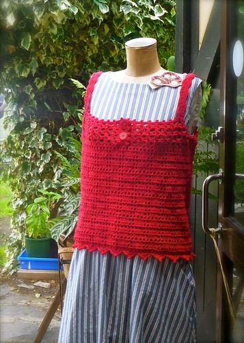 Red Wool Crocheted Top...