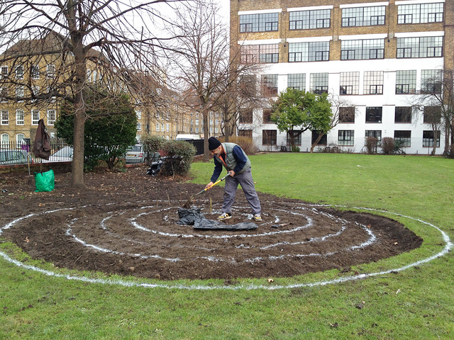 Digging the new flower bed in Wapping Rose Garden