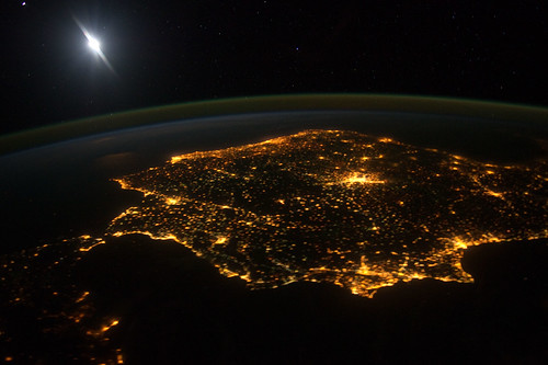Iberian Peninsula at Night (NASA, International Space Station, 01/30/12)