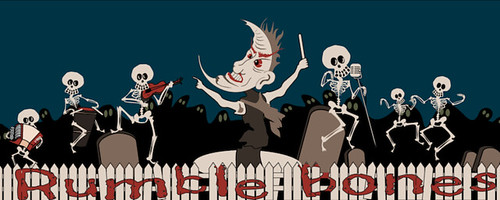 Original Halloween art of skeleton musicians by Bindlegrim