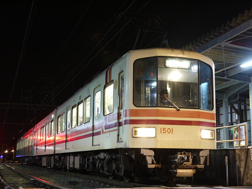 江ノ電1501F+1201F稲村ヶ崎行き最終電車@長谷