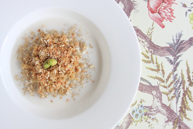 Breakfast Quinoa with Toasted Coconut and Pistachios