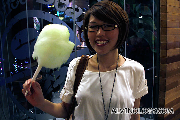 My colleague, Perrine with a cone of cotton candy
