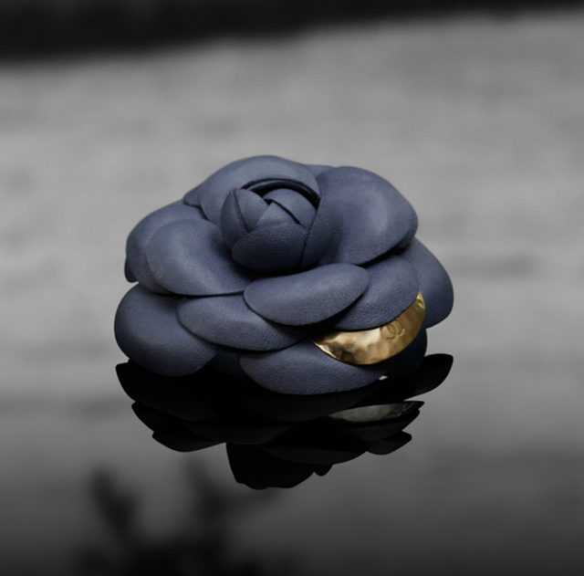 chanel camellia flower brooch leather gold signature