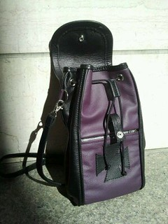 Women's purple & black leather backpack with maltese cross-open view | by Three Mutts Customs