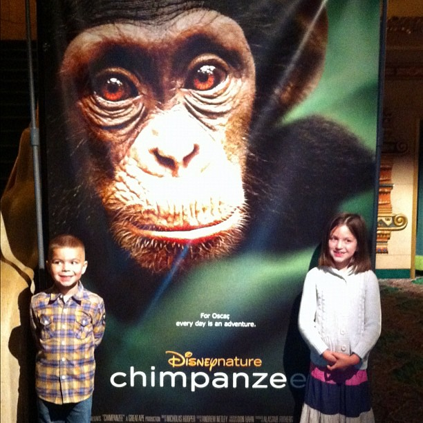 At the El Capitan, getting ready to see #Chimpanzee. Angry Kid and Stella posing.