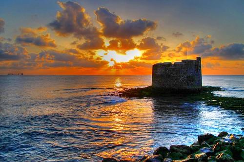 無料写真素材, 建築物・町並み, 宮殿・城, ビーチ・海岸, 朝焼け・夕焼け, 風景  スペイン