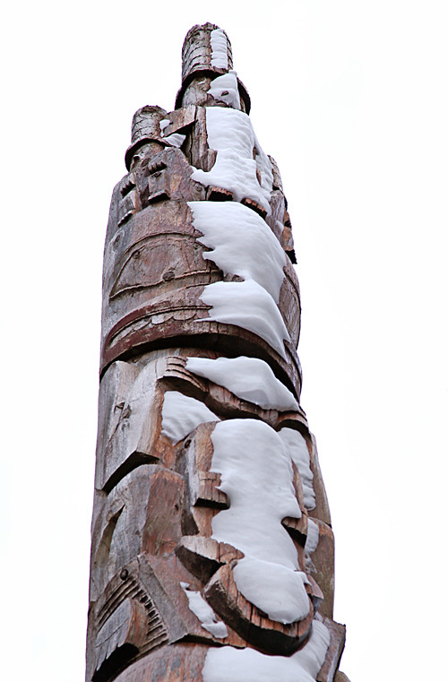 snow-pelted totem pole, Kasaan, Alaska