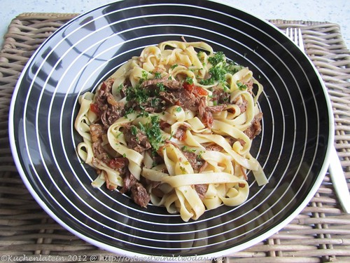 ©Slow-cooked beef cheek ragú with pasta