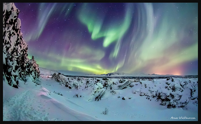 Aurora Borealis at Þingvellir in Iceland