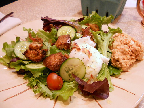 CSA Salad and croutons made from Spent Grain Bread