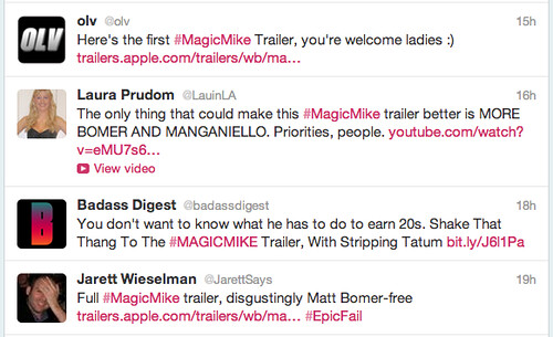 screen shot of tweets about Magic Mike