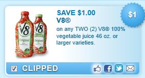 V8 100% Vegetable Juice 46 Oz. Or Larger Varieties.  Coupon