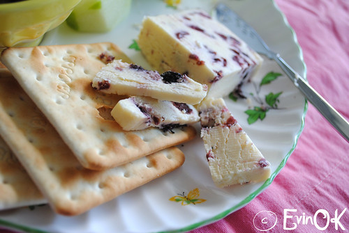 Wensleydale with Cranberries and Crackers on a Vintage Floral Plate