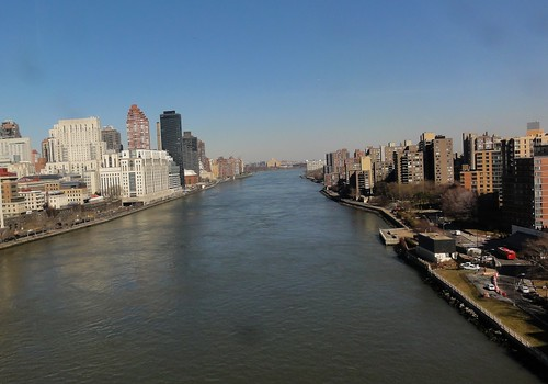 View of East River from Roosevelt Island Tramway New York