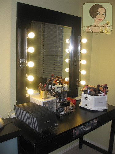 diy lighted vanity mirror.  an entire strip of power plugs below it so I can use a lot my gadgets on that desk presenting new Vanity with own DIY lighted mirror My Makeup Set Up With Lighted Mirror The Shades Of U