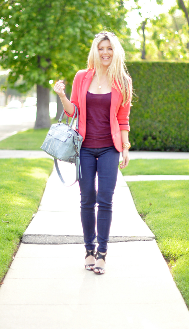 coral blazer and purple jeans