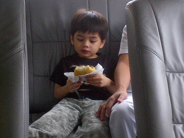 Christian eating a J.Co donut