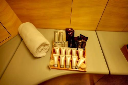 Emirates First Class A380 bathroom amenities