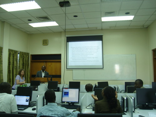 James Kahunyo presents his PhD proposal during a training workshop on research methods