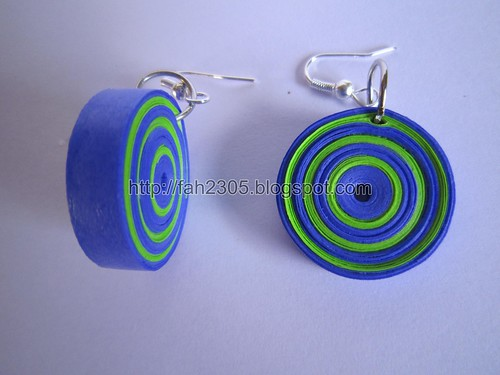 Handmade Jewelry - Paper Quilling Round Earrings (2) by fah2305