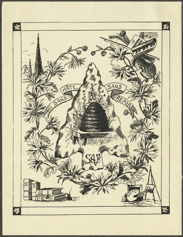 'busy' bookplate engraving with floral display, beehive + corner vignettes of books and musical instruments
