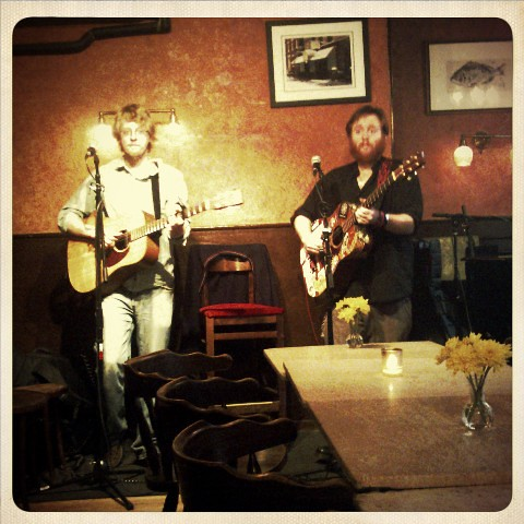 Jasper Lewis and EW Harris at Vivaldi Caffe. With their serious faces on...