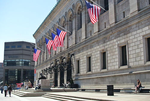 Boston Public Library with flags