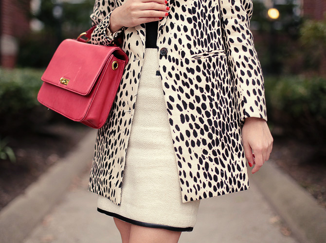 leopard coat red bag