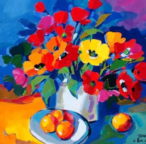 Isabel le Roux Still Life With Flowers And Fruit