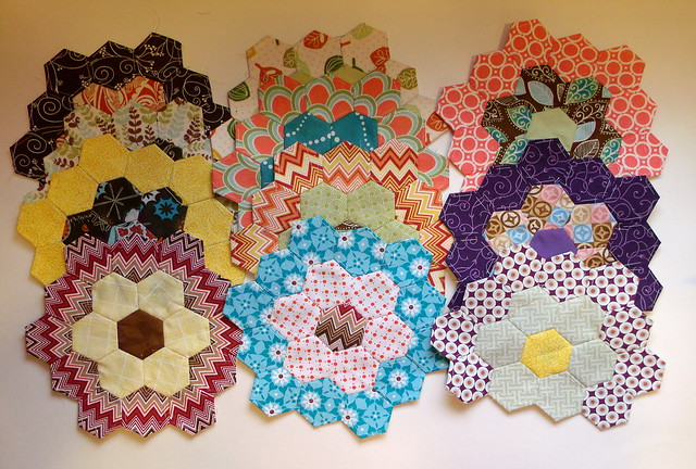 Hexagon flower quilt - WIP