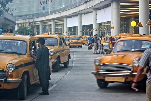 Kolkata yellow taxis at the airport