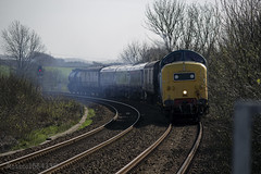 55022 approaching Stewarton working 6V54 Class 334 unit move from Brodies Kilmarnock - Yoker with newly refurbished 334010 12/04/14...