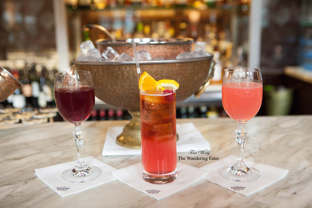 My three drinks (left to right): Victorian Manhattan, Criterion Lemonade, and The East India Company