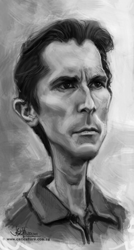 digital caricature of Christian Bale