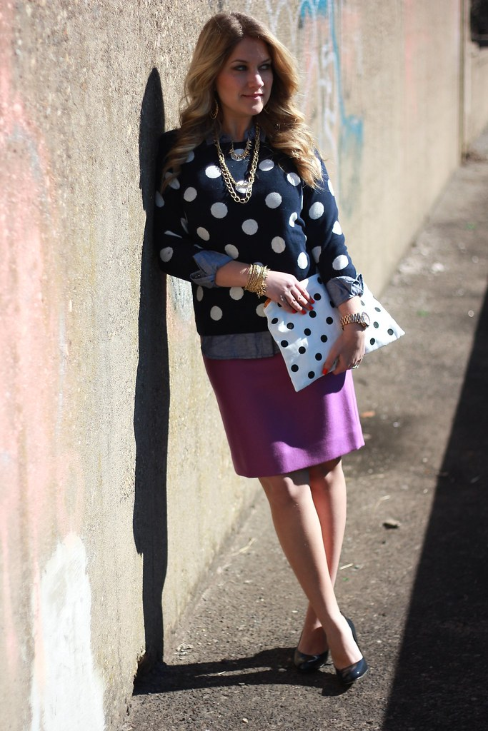polka dot sweater business casual outfit