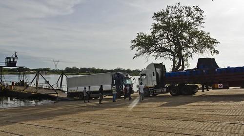 Border ferry between Zambia and Botswana.