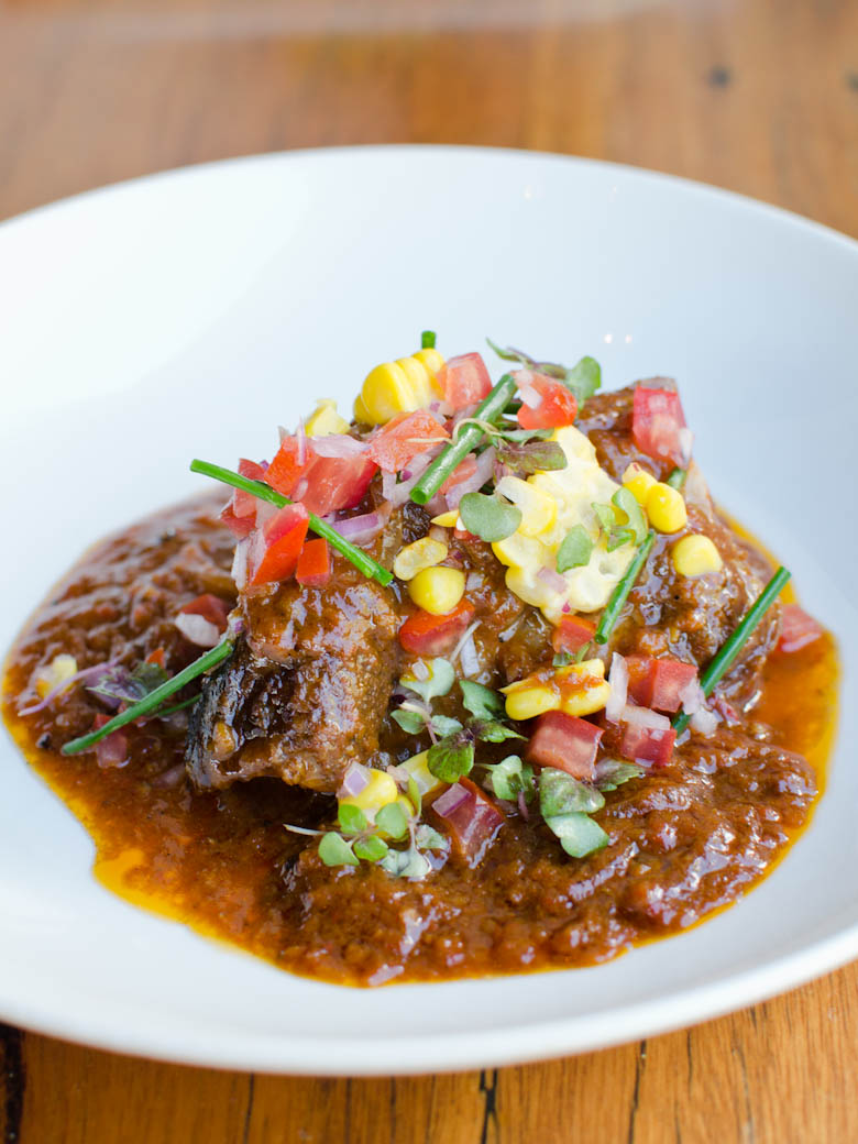 La Luna - Slow cooked beef rib, tomato, peppers, spices, sweet corn salsa